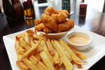 Chicken Tenders with Chips & Tangy Sauce